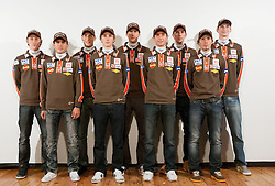 Ski jumping team (L-R): Peter Prevc, Jernej Damjan, Jurij Tepes, Jaka Hvala, Nejc Dezman, Dejan Judez, Jure Sinkovec, Robert Kranjec and Mitja Meznar during media day of Ski Association of Slovenia before new winter season 2012/13, on October 13, 2012, in Cerklje na Gorenjskem, Slovenia. (Photo by Vid Ponikvar / Sportida)