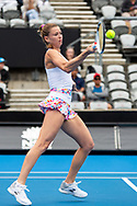 SYDNEY, NSW - JANUARY 07: Camila Giorgi (ITA) hits a forehand at The Sydney International Tennis on January 07, 2018, at Sydney Olympic Park Tennis Centre in Homebush, Australia. (Photo by Speed Media/Icon Sportswire)