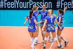 26-08-2017 NED: World Qualifications Netherlands - Slovenia, Rotterdam<br /> De Nederlandse volleybalsters plaatsten zich eenvoudig voor het WK volgend jaar in Japan. Ook Sloveni&euml; wordt met 3-0 verslagen / Team Slovenie met Urska Iglicar #7 of Slovenia