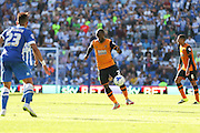 Hull City midfielder Sone Aluko on the ball during the Sky Bet Championship match between Brighton and Hove Albion and Hull City at the American Express Community Stadium, Brighton and Hove, England on 12 September 2015. Photo by Phil Duncan.