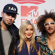 NLD/Amsterdam/20131109 - Pressconference MTV EMA 2013, Laura Whitmore, DJ Afrojack, Nick van der Wall and Redfoo, Stefan Kendal Gordy