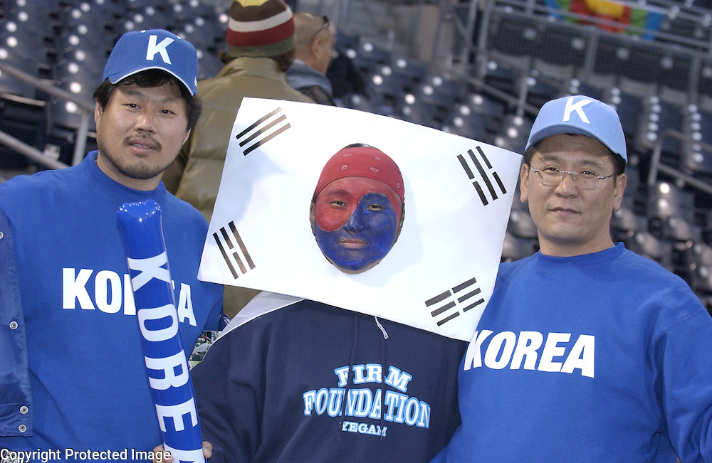 Team Korea fans show their support before the start of the game against Team Japan in Semi-Final action of the World Baseball Classic at PETCO Park, San Diego, CA.