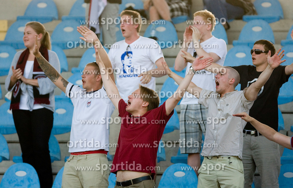 Fans of Lahti at 1st football match of 2nd preliminary Round of UEFA Europe League between ND Gorica and FC Lahti, on July 16 2009, in Nova Gorica, Slovenia. (Photo by Vid Ponikvar / Sportida)