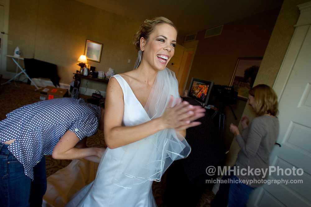 Wedding photography of Jason Cleveland and Jill Honnigford in French Lick, Indiana. <br /> Photo by Michael Hickey, wedding photographer