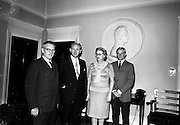03/08/1967<br /> 08/03/1967<br /> 03 August 1967<br /> Mr Henry Weldon of Boston, (left) President of the Irish American Heritage Society, meeting the Taoiseach Jack Lynch and his wife Máirín Lynch at the Taoiseach's office, Government Buildings, Dublin.