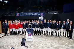 Gruppenfoto Teilnehmer Springen<br /> Paris - FEI World Cup Finals 2018<br /> Longines FEI World Cup Jumping Final I<br /> www.sportfotos-lafrentz.de/Stefan Lafrentz<br /> 12. April 2018