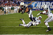 San Diego Chargers wide receiver Vincent Jackson (83) catches a pass that sets the Chargers up at the New York Jets one yard line during an AFC Divisional Playoff game against the New York Jets, January 17, 2010 in San Diego, California. The Jets won the game 17-14. ©Paul Anthony Spinelli