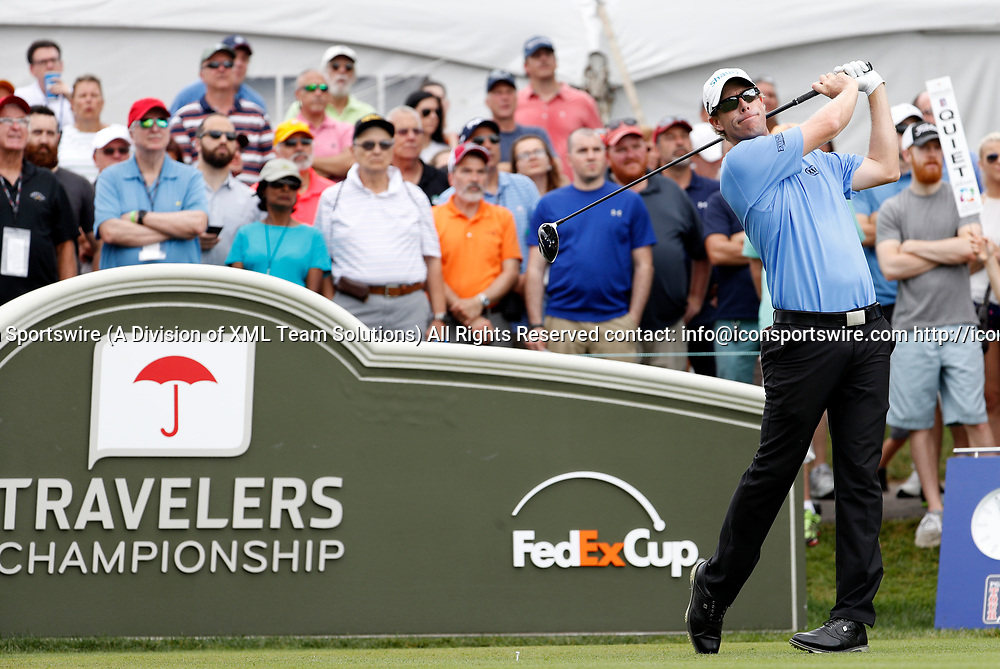 CROMWELL, CT - JUNE 24: David Hearn of Canada starts his round on the first tee during the third round of the Travelers Championship on June 24, 2017, at TPC River Highlands in Cromwell, Connecticut. (Photo by Fred Kfoury III/Icon Sportswire)