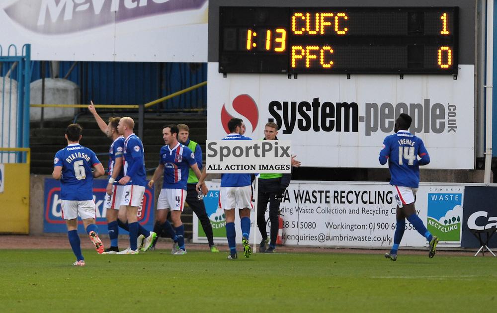 Danny Grainger (Carlisle, blue, 3) celebrates putting the home side ahead with a penalty<br /> <br /> Carlisle United v Portsmouth, SKY BET LEAGUE 2, 21st November 2015<br /> <br /> (c) Alex Todd | SportPix.org.uk