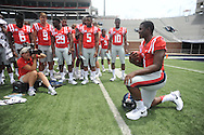Ole Miss' Laquon Treadwell (1) poses during the team's media day, in Oxford, Miss. on Friday, August 1, 2014. Mississippi begins practice Saturday morning and opens the season against Boise State in Atlanta on August 28, 2014. (AP Photo/Oxford Eagle, Bruce Newman)