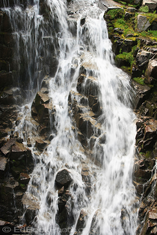Myrtle Falls on Edith Creek, Paradise Meadows, Mount Rainier NP, WA, USA (image captured with a short shutter speed to freeze capture the water motion)