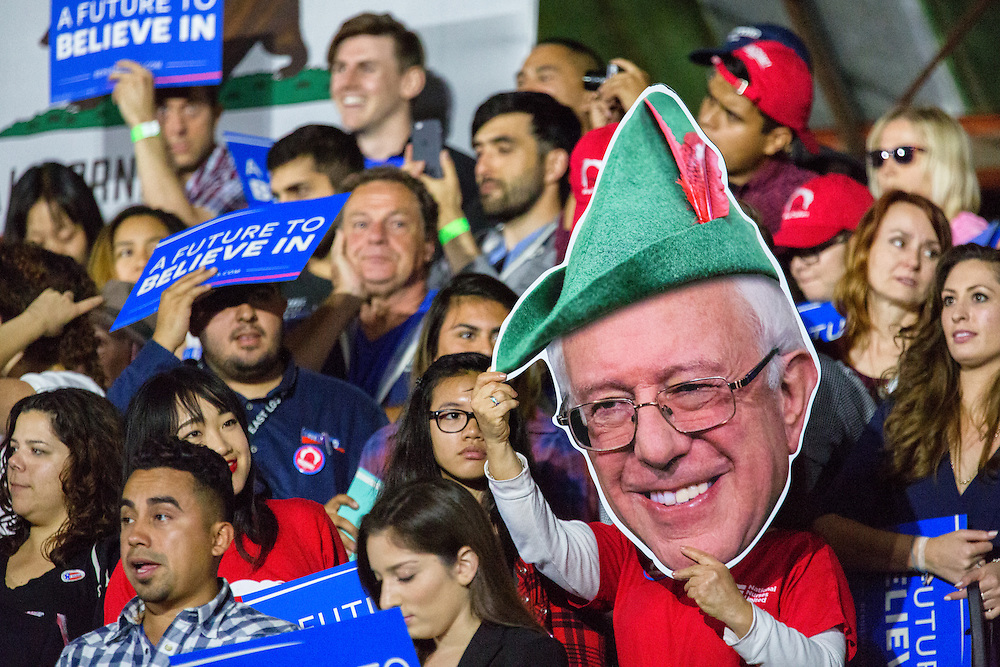 "To his supporters, Bernie Sanders was seen as a modern day ""Robin Hood."" He did not believe in trickle down economics. He wanted to tax the rich and give to the poor. June 7, 2016. Santa Monica, Calif. (Photo by Gabriel Romero ©2016)"