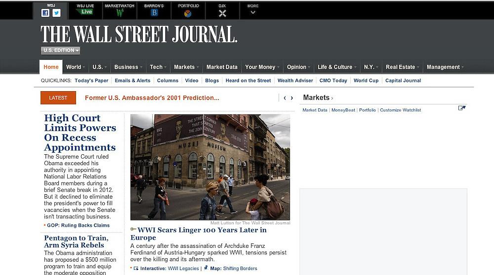 The Wall Street Journal. June 27, 2014.<br /> <br /> 100th anniversary of Franz Ferdinand's assassination in Sarajevo.