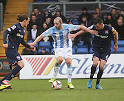 Dundee's Gary Harkins is outnumbered by Ross County's Jackson Irvine and Paul Quinn - Ross County v Dundee, SPFL Premiership at The Global Energy Stadium<br /> <br />  - &copy; David Young - www.davidyoungphoto.co.uk - email: davidyoungphoto@gmail.com