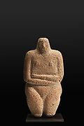 Standing steatopygous figure in red sandstone, 4th millennium BC, from Southwest Arabia, from a private collection, in the Idols exhibition, Sept 2018-Jan 2019, exploring 3-dimensional images of the human body created 4000–2000 BC, at the Fondazione Giancarlo Ligabue, Venice, Italy. Picture by Manuel Cohen