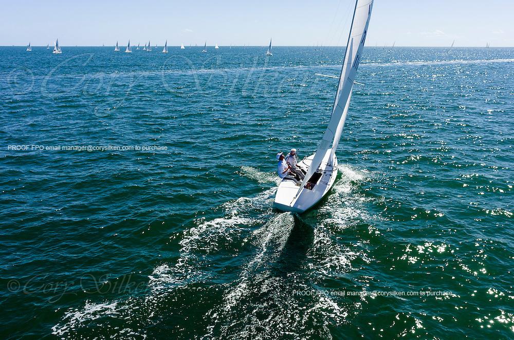 7611 Star Class sailing in Bacardi Miami Sailing Week, day one.