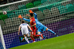 Miha Zajc of Slovenia vs Visar Musliu of Macedonia and Stole Dimitrievski of Macedonia during football match between National teams of Slovenia and North Macedonia in Group G of UEFA Euro 2020 qualifications, on March 24, 2019 in SRC Stozice, Ljubljana, Slovenia.  Photo by Matic Ritonja / Sportida