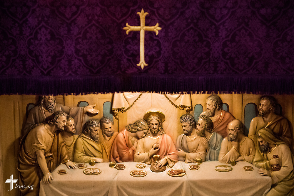 The carved relief of the Lord's Supper at St. John's Lutheran Church on Wednesday, April 5, 2017, in Gary. LCMS Communications/Erik M. Lunsford