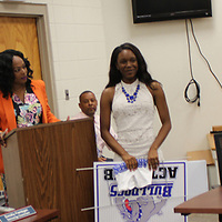 RAY VAN DUSEN/BUY AT PHOTOS.MONROECOUNTYJOURNAL.COM<br /> Aberdeen High School student Aliyah Brandon is honored during the Sept. 18 Aberdeen School Board meeting for making the school's ACT 20+ club. Brandon scored a 26 on the test and plans to attend Ole Miss.