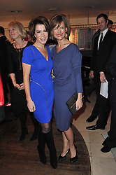 Left to right, NATASHA KAPLINSKY and KATIE DERHAM at the Costa Book Awards 2010 held at Quaglino's, 16 Bury Street, London on 25th January 2011.