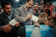 Voting for President Hafez al-Assad during the referendum on his rule. Syria 1991