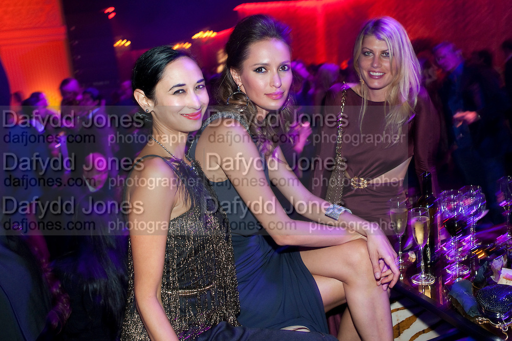 HANNAH BHUIYA; SASHA VOLKOVA; MEREDITH OSTROM, Dinner and party  to celebrate the launch of the new Cavalli Store at the Battersea Power station. London. 17 September 2011. <br /> <br />  , -DO NOT ARCHIVE-&copy; Copyright Photograph by Dafydd Jones. 248 Clapham Rd. London SW9 0PZ. Tel 0207 820 0771. www.dafjones.com.