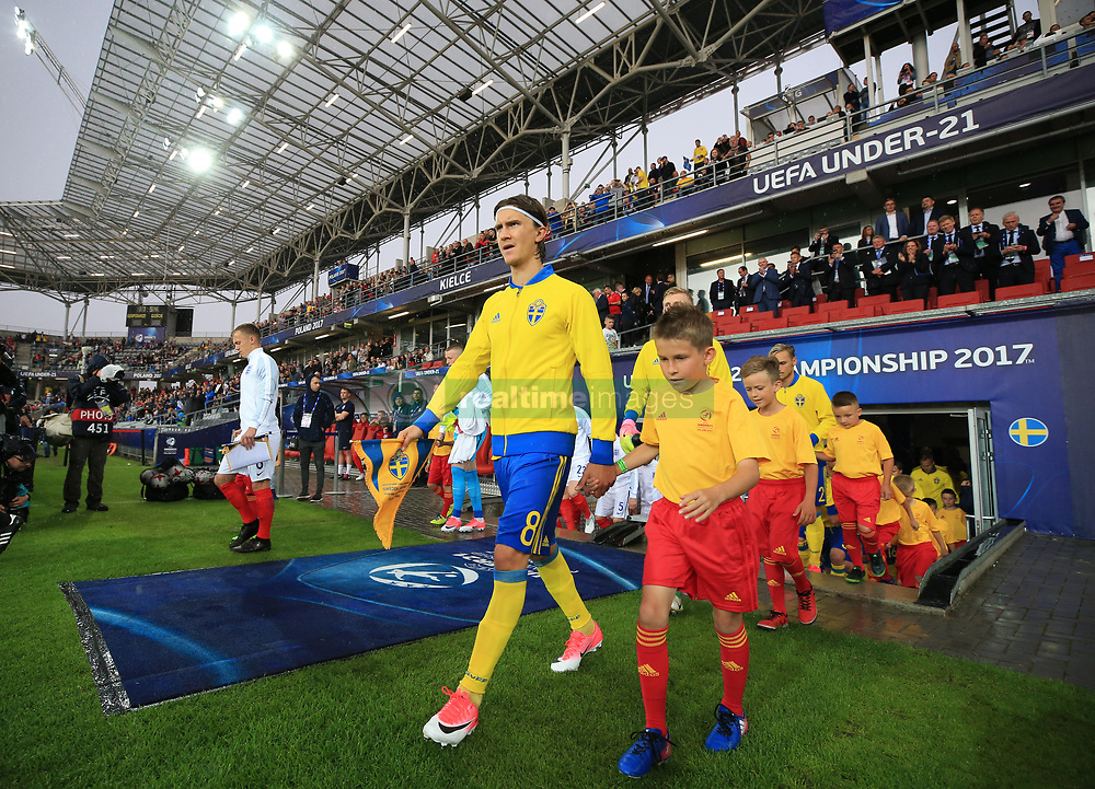 Sweden's Kristoffer Olsson leads his team out during the UEFA European Under-21 Championship, Group A match at the Kolporter Arena, Kielce.