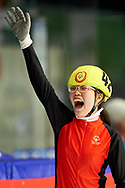 Graz, Austria - 2017 March 24: Xinzhuo Song from SO China (42) celebrates her victory in Speed Skating 333 meters race while Special Olympics World Winter Games Austria 2017 at Icestadium Graz Liebenau on March 24, 2017 in Graz, Austria.<br /> <br /> Mandatory credit:<br /> Photo by © Adam Nurkiewicz / Mediasport<br /> <br /> Adam Nurkiewicz declares that he has no rights to the image of people at the photographs of his authorship.<br /> <br /> Picture also available in RAW (NEF) or TIFF format on special request.<br /> <br /> Any editorial, commercial or promotional use requires written permission from the author of image.<br /> <br /> Image can be used in the press when the method of use and the signature does not hurt people on the picture.