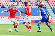 Charlton Athletic midfielder Conor Gallagher  in action during the EFL Sky Bet Championship match between Wigan Athletic and Charlton Athletic at the DW Stadium, Wigan, England on 21 September 2019.