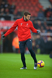 BOURNEMOUTH, ENGLAND - Saturday, December 8, 2018: Liverpool's Adam Lallana during the pre-match warm-up before the FA Premier League match between AFC Bournemouth and Liverpool FC at the Vitality Stadium. (Pic by David Rawcliffe/Propaganda)