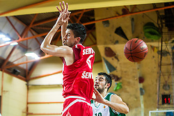Stefan Sinovec of KK Krka Novo mesto vs Stanko Sebic of KK Tajfun Sentjur during basketball match between KK Krka Novo mesto and KK Tajfun Sentjur at Superpokal 2015, on September 26, 2015 in SKofja Loka, Poden Sports hall, Slovenia. Photo by Grega Valancic / Sportida.com