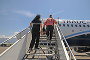 Passengers boarding a plane at Batumi international airport, Georgia