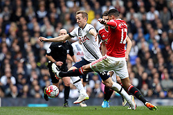 Harry Kane of Tottenham Hotspur beats Chris Smalling of Manchester United to the ball - Mandatory by-line: Robbie Stephenson/JMP - 10/04/2016 - FOOTBALL - White Hart Lane - London, England - Tottenham Hotspur v Manchester United - Barclays Premier League