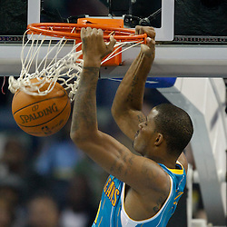 October 29, 2010; New Orleans, LA, USA; New Orleans Hornets small forward Trevor Ariza (1) dunks against the Denver Nuggets during the first half at the New Orleans Arena.  Mandatory Credit: Derick E. Hingle