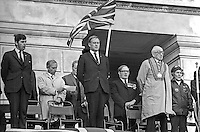 Ulster Vanguard, Loyalist Rally, Parliament Buildings, Stormont, N Ireland, 30th September 1972. Left to right - John Taylor, MP, Ulster Unionist, N Ireland Parliament; Stanley McMaster, MP, Ulster Unionist, East Belfast, UK Parliament; Cecil Harvey, prominent member, Ulster Vanguard; William Craig, MP, Larne, leader, Ulster Vanguard; Gerald Glover, former,Ulster Unionist Mayor, Londonderry; Lord Brookeborough, 1st Viscount, former, Ulster Unionist, Prime Minister, N Ireland Parliament; unknown woman; 1972093006001a<br /> <br /> Copyright Image from Victor Patterson, 54 Dorchester Park, Belfast, UK, BT9 6RJ<br /> <br /> t1: +44 28 9066 1296 (from Rep of Ireland 048 9066 1296)<br /> t2: +44 28 9002 2446 (from Rep of Ireland 048 9002 2446)<br /> m: +44 7802 353836<br /> <br /> e1: victorpatterson@me.com<br /> e2: victorpatterson@gmail.com<br /> <br /> The use of my copyright images is subject to my Terms & Conditions.<br /> <br /> It is IMPORTANT that you familiarise yourself with them. They are available on my website at www.victorpatterson.com.<br /> <br /> None of my copyright images may be used on a website unless they are visibly watermarked, i.e. © Victor Patterson within the body of the visible image. Metadata denoting my copyright must NOT be deleted. <br /> <br /> Web use is extra at currently recommended NUJ rates.