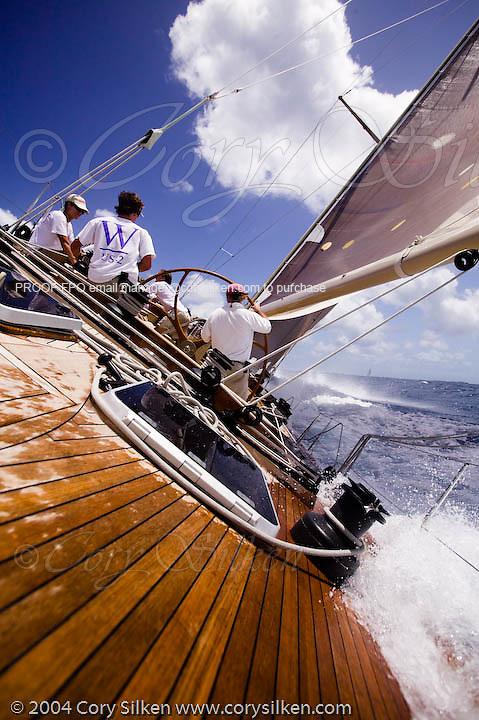 W Class White Wings racing at the Antigua Classic Yacht Regatta
