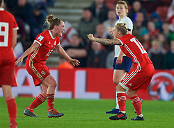 SOUTHAMPTON, ENGLAND - Friday, April 6, 2018: Wales' Rachel Rowe and Jessica Fishlock celebrate at the final whistle after a hard fought goal-less draw against England during the FIFA Women's World Cup 2019 Qualifying Round Group 1 match between England and Wales at St. Mary's Stadium. (Pic by David Rawcliffe/Propaganda)