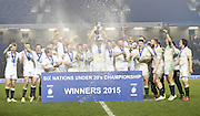 England lift the trophy during the 2015 Under 20s 6 Nations match between England and France at the American Express Community Stadium, Brighton and Hove, England on 20 March 2015.