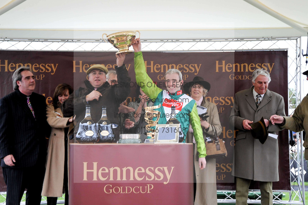 Winners presentation at the Hennessy Gold Cup 2009 held at Newbury Racecourse, Berkshire on 28th November 2009.