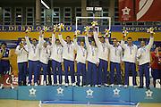 Almeria, 01/07/2005<br /> Finale Giochi del Mediterraneo Almeria 2005<br /> Premiazione Italia<br /> team italia<br /> rocca, boscagin, pecile, ress, carraretto, di giuliomaria, giachetti, mordente, cittadini, santarossa, garri
