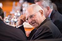 27 SEP 2017, BERLIN/GERMANY:<br /> Wolfgang Schaeuble, CDU, Bundesfinanzminister, vor Beginn der Kabinettsitzung, Bundeskanzleramt<br /> IMAGE: 20170927-01-016<br /> KEYWORDS: Kabinett, Sitzung, Wolfgang Schäuble