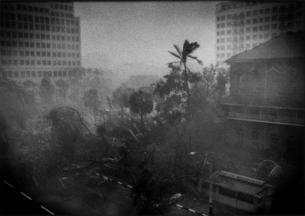 Cyclone Nargis bears down full force snapping trees and debris flying in Yangon, Burma (Myanmar).