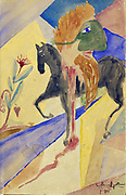 The Masked Horseman'. Guillaume Apollinaire (Apollinaris Kostrowitsky 1880-1919) French poet  Watercolour. P