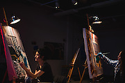 Students during a painting class in the Jundt Art Museum.