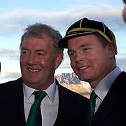 """Patrick 'Rala' O'Reilly, the squad's long-serving baggage master with Brian O""""Driscoll (right) after the cap presentation and Civic welcome at Skyline.  Queenstown, New Zealand, 4th September 2011. Photo Tim Clayton.."""