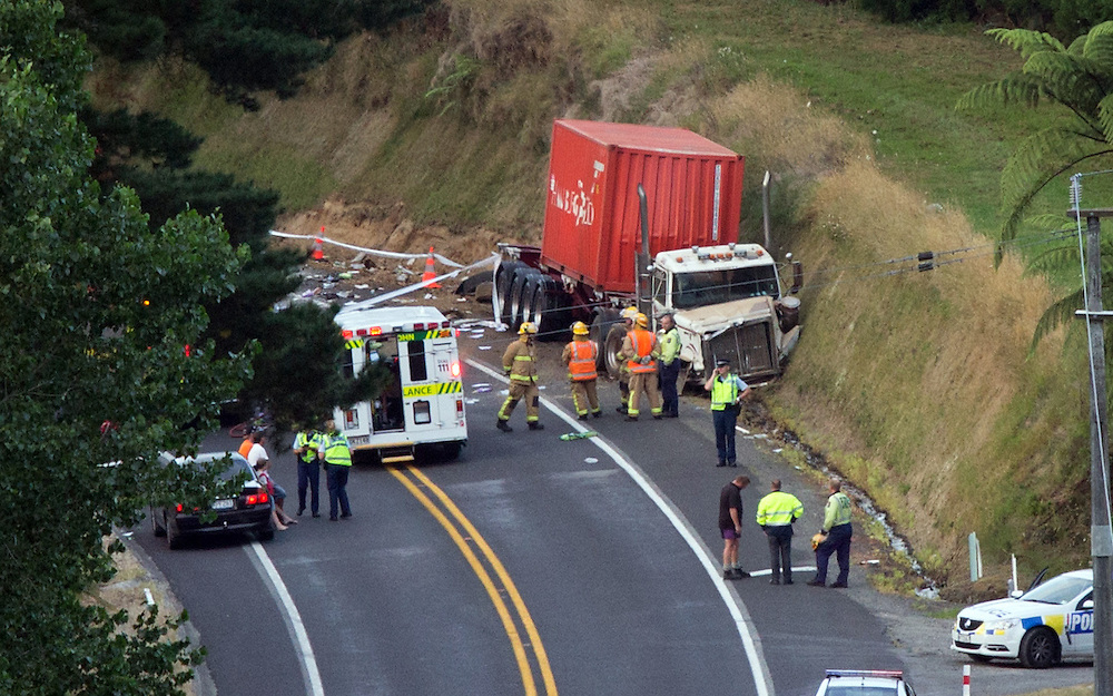 One person is dead and four were admitted to hospital following a collision between a semi trailer and light truck at Whakamarama, Tauranga, New Zealand, Thursday, January 22, 2015. Credit:SNPA / Cameron Avery