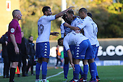 Bury FC striker Hallam Hope (24) scores a goal 2-0 and celebrates during the The Emirates FA Cup 1st Round match between Bury and AFC Wimbledon at the JD Stadium, Bury, England on 5 November 2016. Photo by Stuart Butcher.