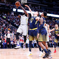 07 March 2018: Cleveland Cavaliers forward LeBron James (23) goes for the layup against Denver Nuggets center Nikola Jokic (15) during the Cleveland Cavaliers 113-108 victory over the Denver Nuggets, at the Pepsi Center, Denver, Colorado, USA.