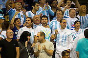 Argentina fans celebrate a break of serve during the Davis Cup Semi Final between Great Britain and Argentina at the Emirates Arena, Glasgow, United Kingdom on 16 September 2016. Photo by Craig Doyle.