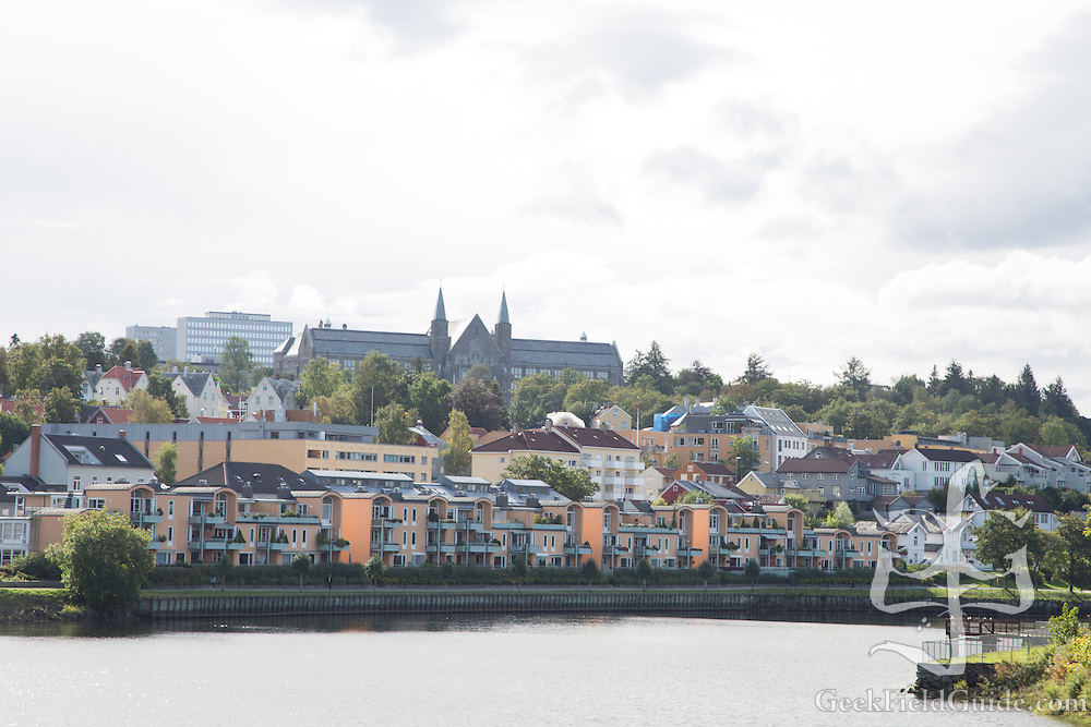 Norwegian University of Science and Technology, Trondheim, as seen from the banks of the Nidelva.